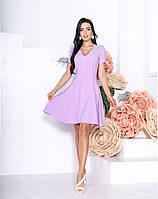 Женское приталенное платье на пуговицах с коротким рукавом, фото 1
