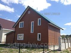 Вініловий Блок хаус двухпереломний коричневий, світлий дуб