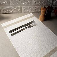Біла сервірувальна серветка під тарілку з люрексом 30х45см