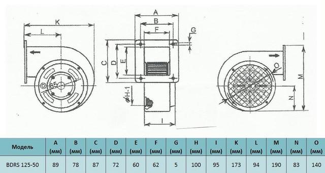 Габариты центробежного вентилятора Bahcivan BDRS 125 50. Купить в Украине.