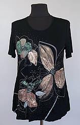 Женская футболка «Natalia» черного цвета с цветами (50-60 р)