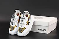 Женские модные кроссовки Versace Chain White (Женские кроссовки на массивной подошве Версаче в белом цвете)
