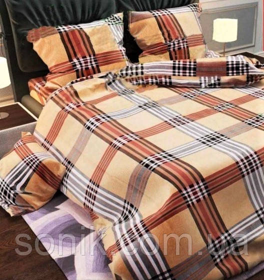 Комплект постельного белья Шотландка  | евро | Бязь Gold Lux