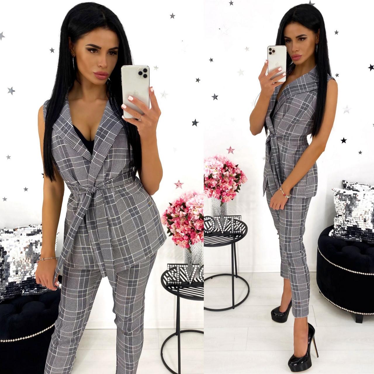 Стильный женский костюм без рукавов (жилет плюс брюки), 00772 (Серый), Размер 44 (M)