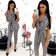 Стильный женский костюм без рукавов (жилет плюс брюки), 00772 (Серый), Размер 44 (M), фото 2