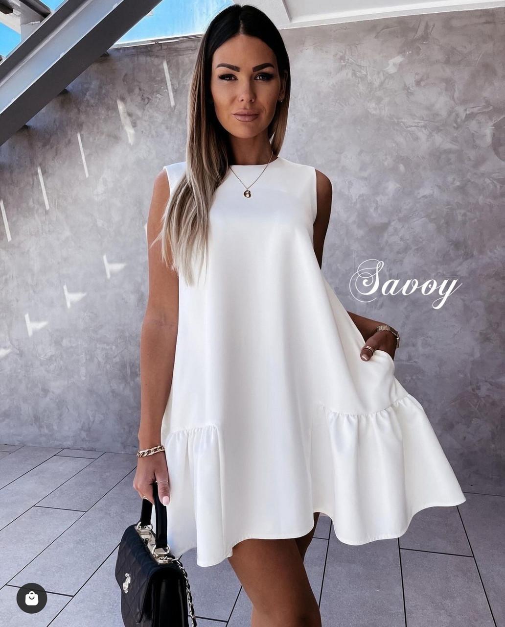 Модне офісне плаття з костюмкі з потайними кишенями, 00774 (Білий), Розмір 46 (L)