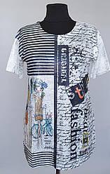 Женская удлиненная футболка «Natalia Fashion» серебристого цвета (50-60 р)