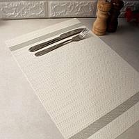 Светло-серая банкетная сервировочная салфетка под тарелку с люрексом 30х45см
