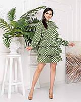 Плаття в горох з воланами арт А511, колір оливка