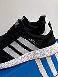 Кроссовки мужские черные на белой подошве в стиле Adidas Iniki Runner Black White, фото 4