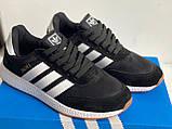 Кроссовки мужские черные на белой подошве в стиле Adidas Iniki Runner Black White, фото 6