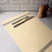 Нежно-золотистая банкетная сервировочная салфетка под тарелку с люрексом 30х45см