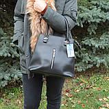 Пудровая женская сумка K23-18/3 розовая деловая с длинными ручками на плечо, фото 4