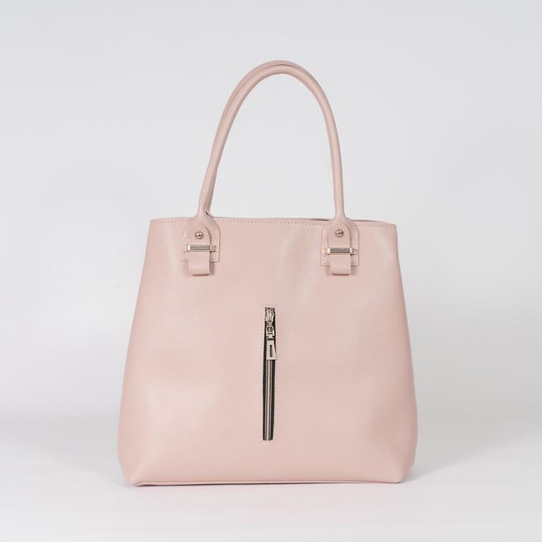 Пудровая женская сумка K23-18/3 розовая деловая с длинными ручками на плечо