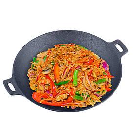 Сковорода чавунна Wok 30см зі скляною кришкою Kamille для індукції і газу KM-4814V