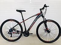 Спортивний гірський велосипед 29 дюймів Azimut Nevada D 17 рама чорно-червоний