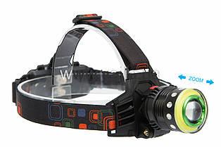 Фонарь налобный WD-120, T6+COB, zoom