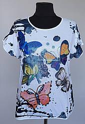 Женская модная футболка «Natalia Бабочки» с пайетками на груди  (50-60 р)