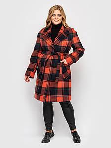 Пальто жіноче Кіра охра клітка