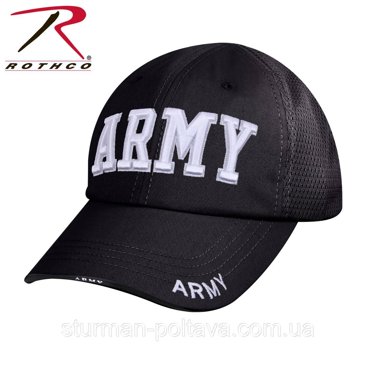 Бейсболка чоловіча річна з вентилляционной сіткою колір чорний вишивка ARMY Rotcho USA