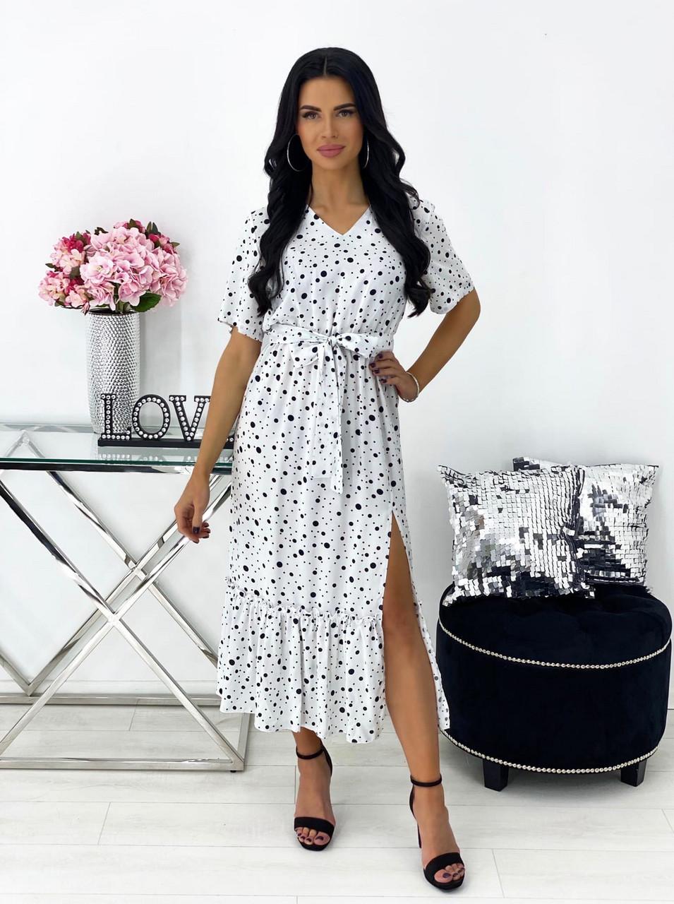Повседневное платье, длиною миди, с небольшим разрезом, 00784 (Белый), Размер 48 (XL)