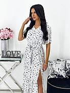 Повседневное платье, длиною миди, с небольшим разрезом, 00784 (Белый), Размер 48 (XL), фото 3