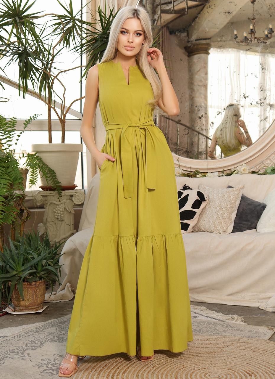 Довге літнє плаття А-силуету без рукав з поясом