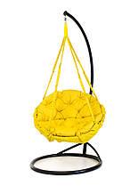 Подвесное кресло гамак для дома и сада с большой круглой подушкой 120 х 120 см до 250 кг желтого цвета