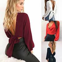 Жіноча стильна блузка з вирізом на спині, фото 1