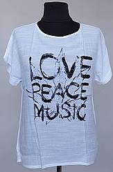 Женская тонкая футболка «Love Music» с надписями на груди