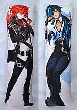 Дакимакура Подушка обнімашка 120х40 см зі знімною наволочкою Genshin Impact - Ділюк & Кейа ( Diluc & Kaeya )