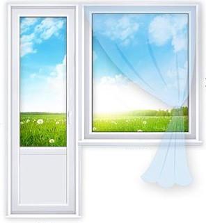 Балконий блок «Стандарт» (1 300х1 400 мм,750х2 050 мм)