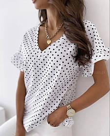 Лёгкая блузка в горошек свободная