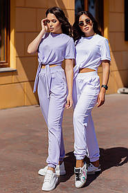 Женский спортивный костюм летний футболка на завязках со штанами