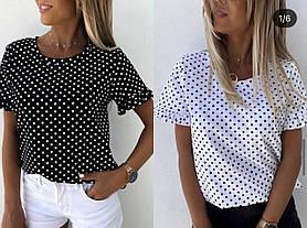 Лёгкая летняя блузка в горошек свободная Большого размера