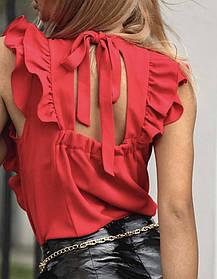 Лёгкая летняя блузка с рюшами и открытой спиной Большого размера