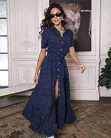 Стильное платье халат на пуговицах с поясом в мелкий горох В размерах 42-44, 46-48, 50-52, 54-56