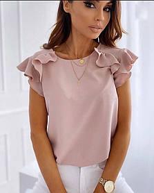 Стильная лёгкая блузка с коротким рукавом рюшами Большого размера