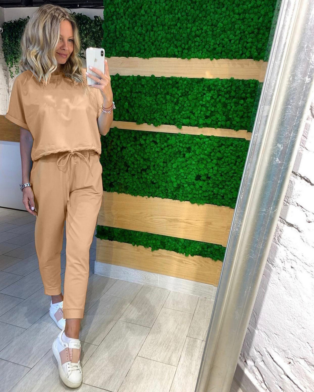 Женский повседневный костюм из двух частей (кофта+штаны), 00791 (Бежевый), Размер 48 (XL)