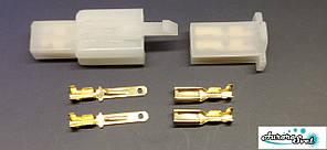 Роз'єм проводки для скутера / електро самоката / велосипеда 2-х контактний комплект під обжимку