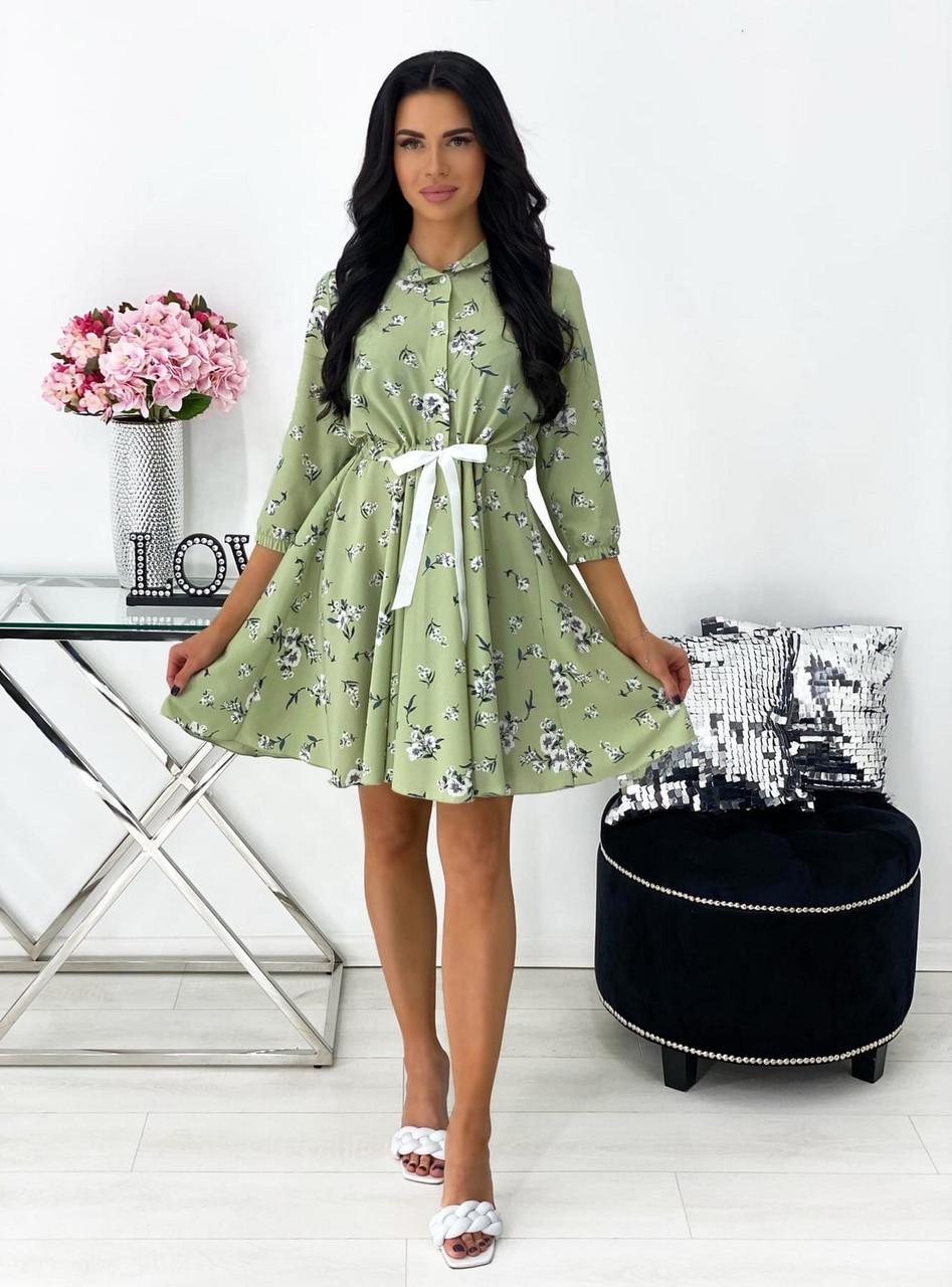 Короткое платье из софта с принтом, рукав ¾ на резинке, 00788 (Оливковый), Размер 44 (M)