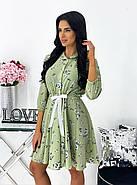 Короткое платье из софта с принтом, рукав ¾ на резинке, 00788 (Оливковый), Размер 44 (M), фото 2