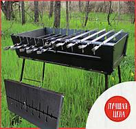 Компактный портативный стальной складной разборный мангал чемодан кейс с ножками на 6 шампуров переносной 2 мм