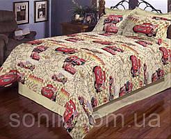 Комплект постельного белья Тачки на карте беж