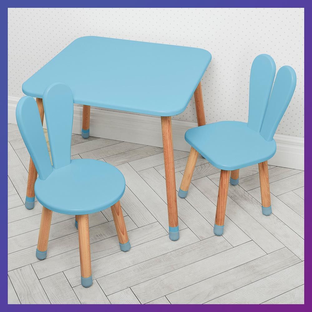 Дитячий дерев'яний столик і 2 стільці 04-025BLAKYTN + 1 блакитний