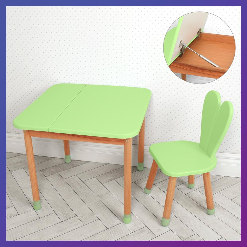 Дитячий дерев'яний столик з ящиком і стільчик 04-025G-BOX зелений