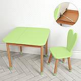 Дитячий дерев'яний столик з ящиком і стільчик 04-025G-BOX зелений, фото 3