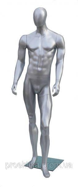 DOG-02s Манекен мужской безликий серебристый глянцевый