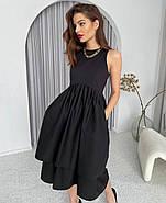 Стильне і модне плаття з подвійною спідницею, 00793 (Чорний), Розмір 44 (M), фото 2