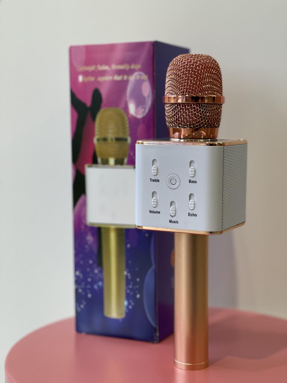 Мікрофон караоке Q7 рожеве золото